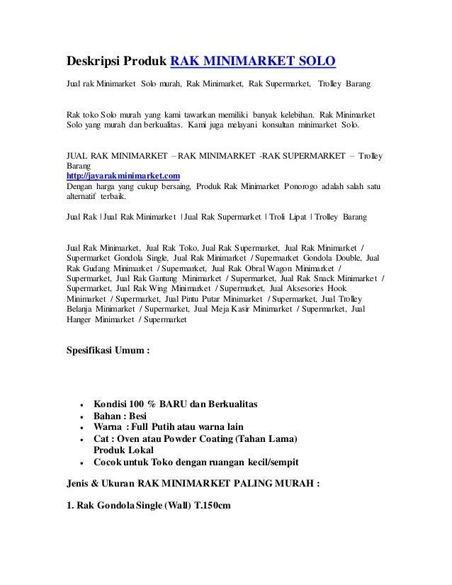 Deskripsi Produk RAK MINIMARKET SOLO Jual rak Minimarket Solo murah, Rak Minimarket, Rak Supermarket, Trolley Barang http:...