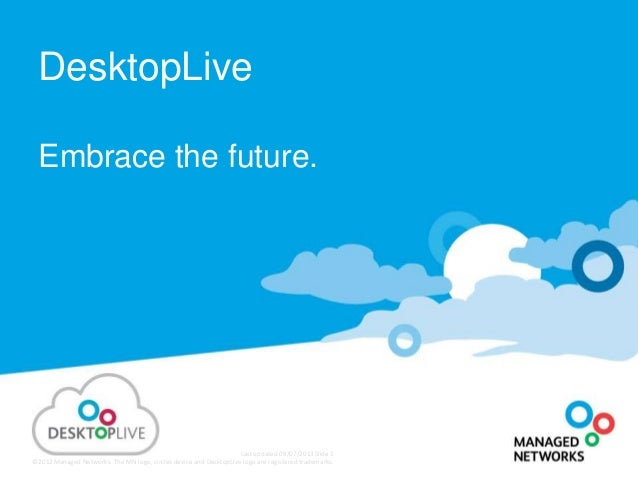Last updated 09/07/2013 Slide 1 ©2012Managed Networks. The MN logo, circles device and DesktopLive logo are registered tra...