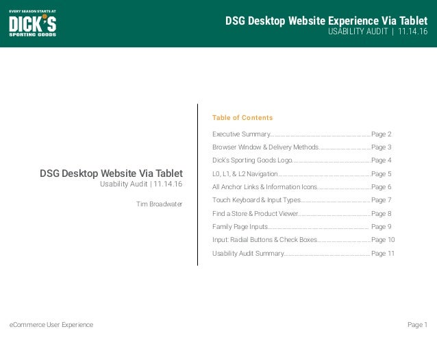 DSG Desktop Website Experience Via Tablet USABILITY AUDIT | 11.14.16 Page 1eCommerce User Experience Table of Contents Exe...