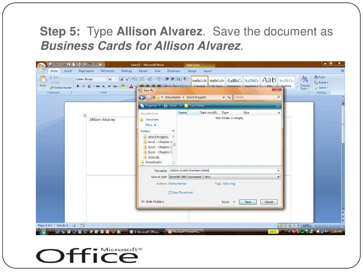 Creating business cards with word 2007 reheart Images