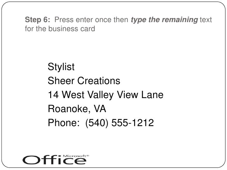 Creating business cards with word 2007 br 7 reheart Gallery