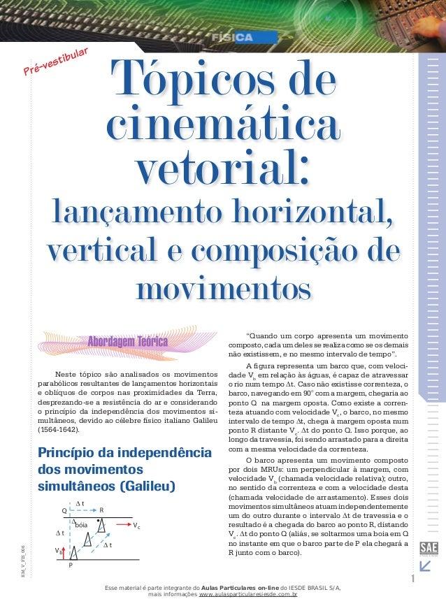 Tópicos de  cinemática  vetorial:  lançamento horizontal,  vertical e composição de  movimentos  Neste tópico são analisad...