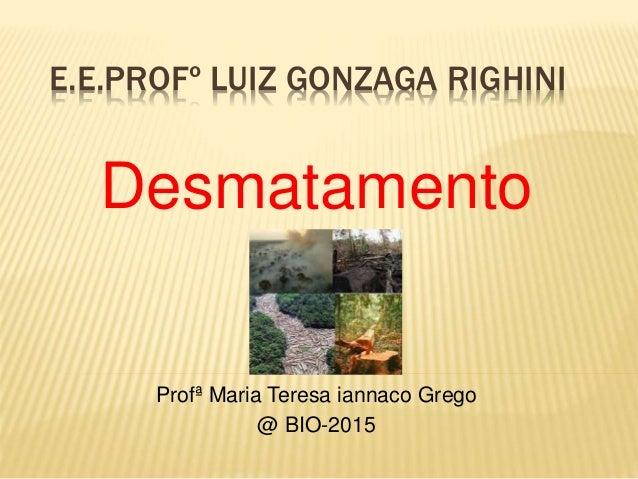 E.E.PROFº LUIZ GONZAGA RIGHINI Desmatamento Profª Maria Teresa iannaco Grego @ BIO-2015