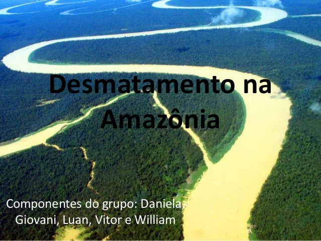 Desmatamento na  Amazônia  Componentes do grupo: Daniela,  Giovani, Luan, Vitor e William