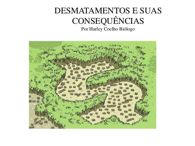 DESMATAMENTOS E SUAS   CONSEQUÊNCIAS     Por Harley Coelho Biólogo