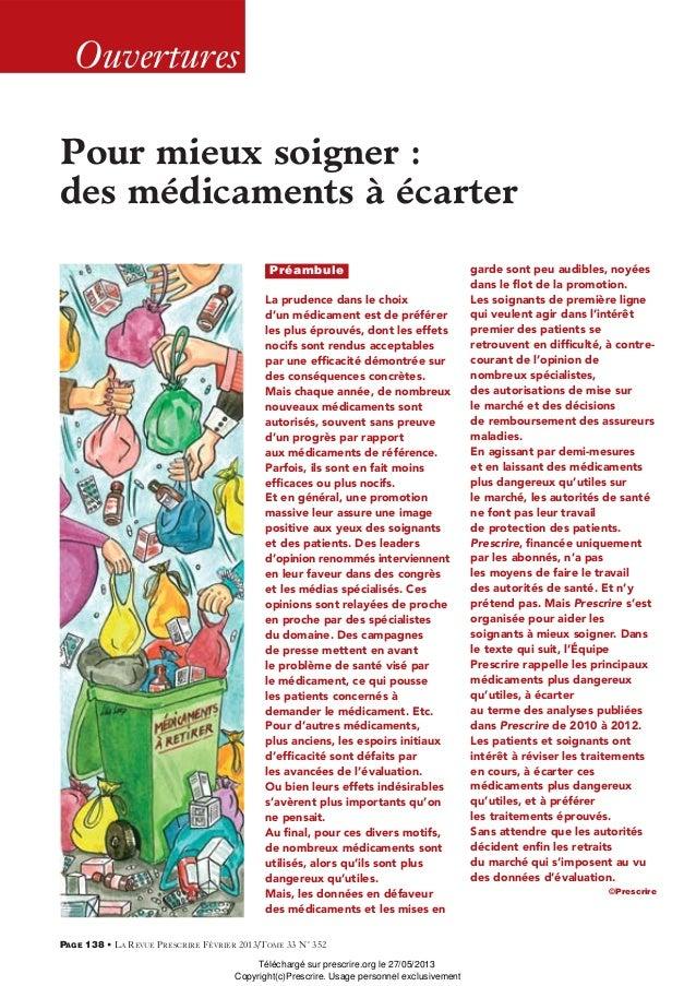 OuverturesPAGE 138 • LA REVUE PRESCRIRE FÉVRIER 2013/TOME 33 N° 352Pour mieux soigner :des médicaments à écarterLa prudenc...