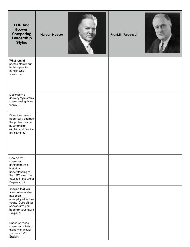 FDR And   Hoover:  Comparing              Herbert Hoover   Franklin Roosevelt  Leadership    StylesWhat turn ofphrase stan...