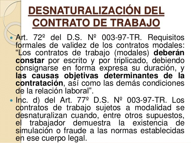 Desnaturalizaci n del cas ii for Contrato de duracion determinada empleada de hogar