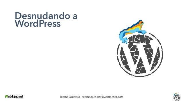 Txema Quintero - txema.quintero@webtecnet.com Desnudando a WordPress