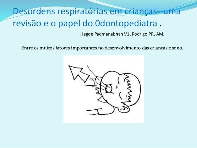 Desordens respiratórias em crianças--uma revisão e o papel do 0dontopediatra . Hegde Padmanabhan V1, Rodrigo PR, AM. Entre...