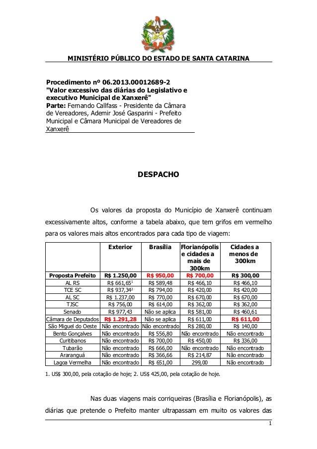 """MINISTÉRIO PÚBLICO DO ESTADO DE SANTA CATARINA 1 Procedimento nº 06.2013.00012689-2 """"Valor excessivo das diárias do Legisl..."""