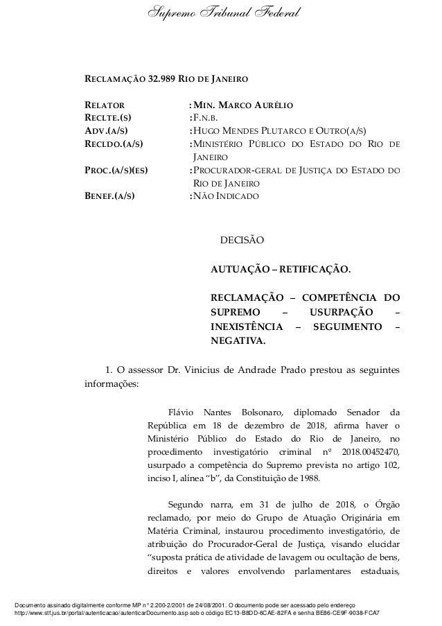 RECLAMAÇÃO 32.989 RIO DE JANEIRO RELATOR : MIN. MARCO AURÉLIO RECLTE.(S) :F.N.B. ADV.(A/S) :HUGO MENDES PLUTARCO E OUTRO(A...