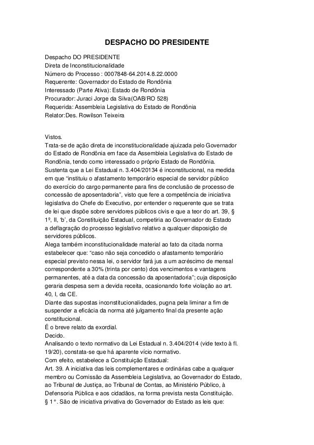 DESPACHO DO PRESIDENTE Despacho DO PRESIDENTE Direta de Inconstitucionalidade  Número do Processo : 0007848­64.2014.8.22.0...