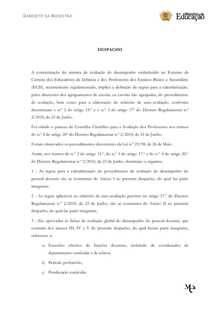GABINETE DA MINISTRA                                                  DESPACHO        A concretização do sistema de avalia...