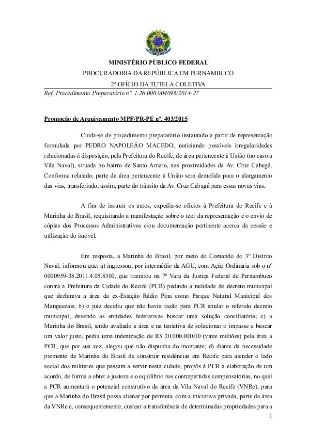 MINISTÉRIO PÚBLICO FEDERAL PROCURADORIA DA REPÚBLICA EM PERNAMBUCO 2º OFÍCIO DA TUTELA COLETIVA Ref. Procedimento Preparat...