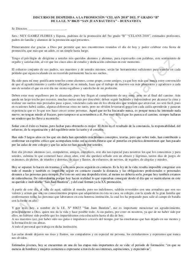 """DISCURSO DE DESPEDIDA A LA PROMOCIÒN """"CELASN 2018"""" DEL 5º GRADO """"B"""" DE LA I.E. Nº 80635 """"SAN JUAN BAUTISTA"""" – BUENAVISTA S..."""