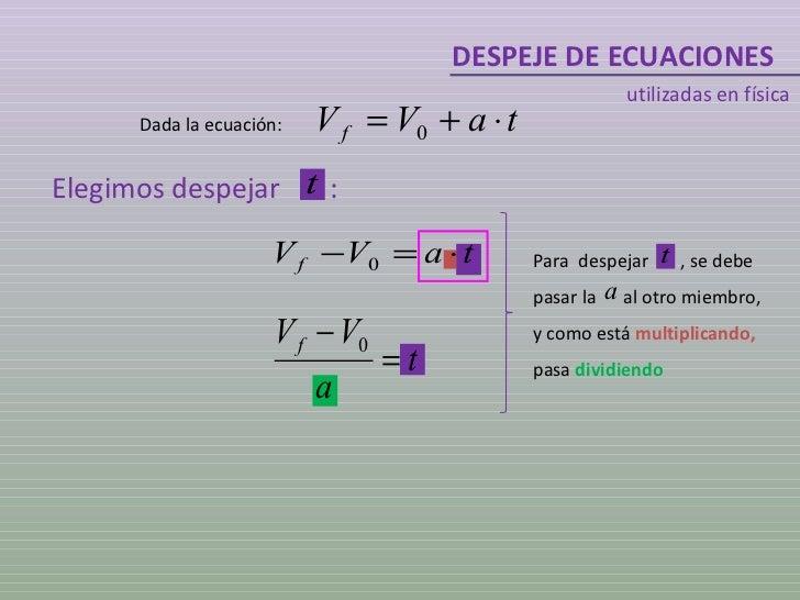 DESPEJE DE ECUACIONES utilizadas en física Dada la ecuación: Elegimos despejar  : Para  despejar  , se debe pasar la  al o...