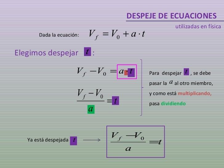 DESPEJE DE ECUACIONES utilizadas en física Dada la ecuación: Elegimos despejar  : Ya está despejada  Para  despejar  , se ...