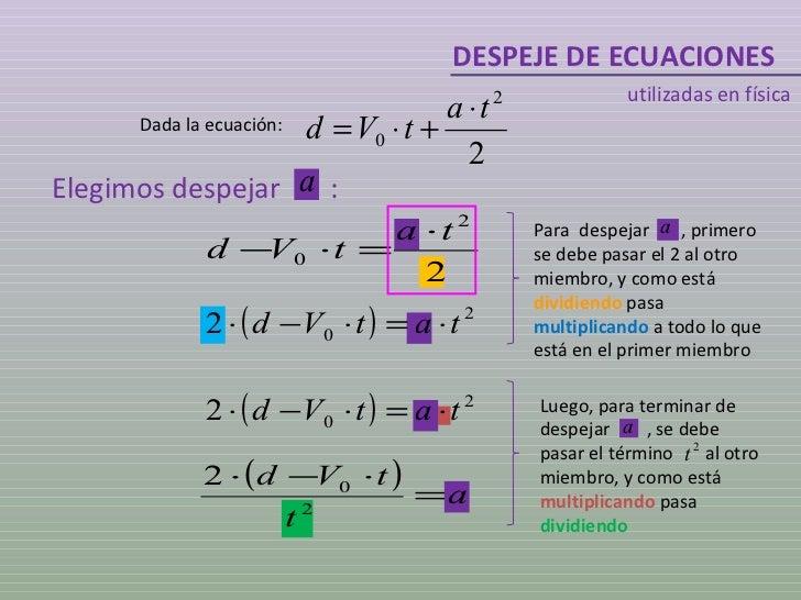 DESPEJE DE ECUACIONES utilizadas en física Dada la ecuación: Elegimos despejar  : Luego, para terminar de despejar  , se d...