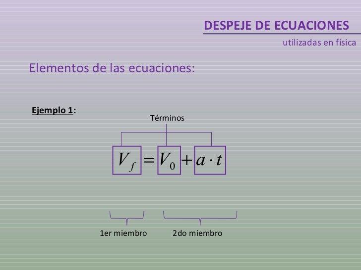 DESPEJE DE ECUACIONES utilizadas en física Elementos de las ecuaciones: Ejemplo 1 : 1er miembro 2do miembro Términos