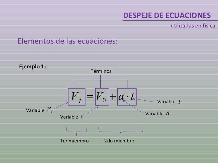 DESPEJE DE ECUACIONES utilizadas en física Elementos de las ecuaciones: Ejemplo 1 : 1er miembro 2do miembro Términos Varia...
