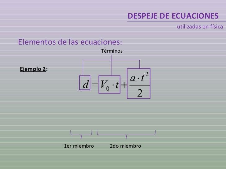 DESPEJE DE ECUACIONES utilizadas en física Ejemplo 2 : 1er miembro 2do miembro Términos Elementos de las ecuaciones: