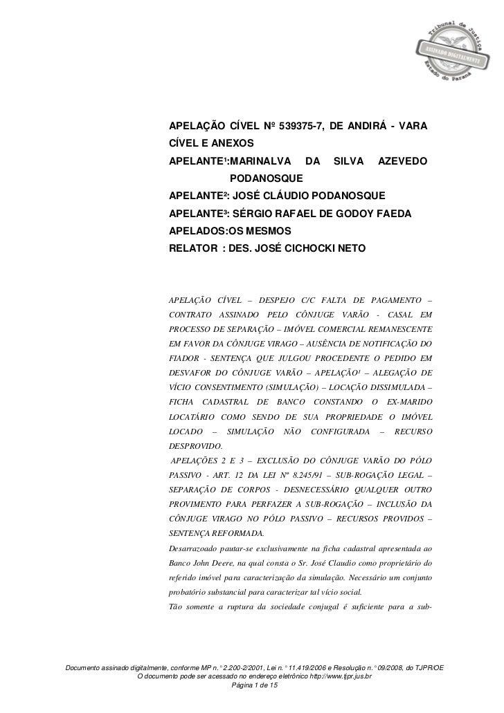 APELAÇÃO CÍVEL Nº 539375-7, DE ANDIRÁ - VARA                                CÍVEL E ANEXOS                                ...