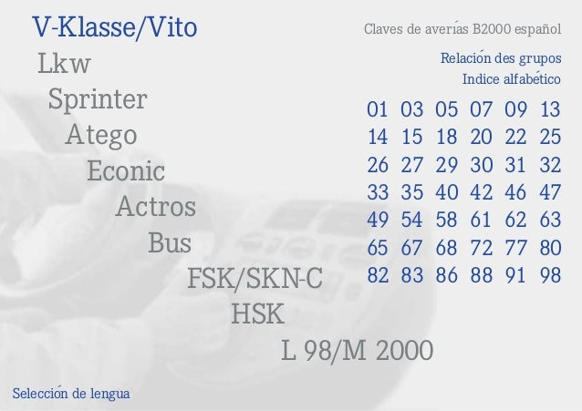 V-Klasse/Vito Lkw Sprinter Atego Econic Actros Bus FSK/SKN-C HSK L 98/M 2000 Claves de averías B2000 español Selección de ...