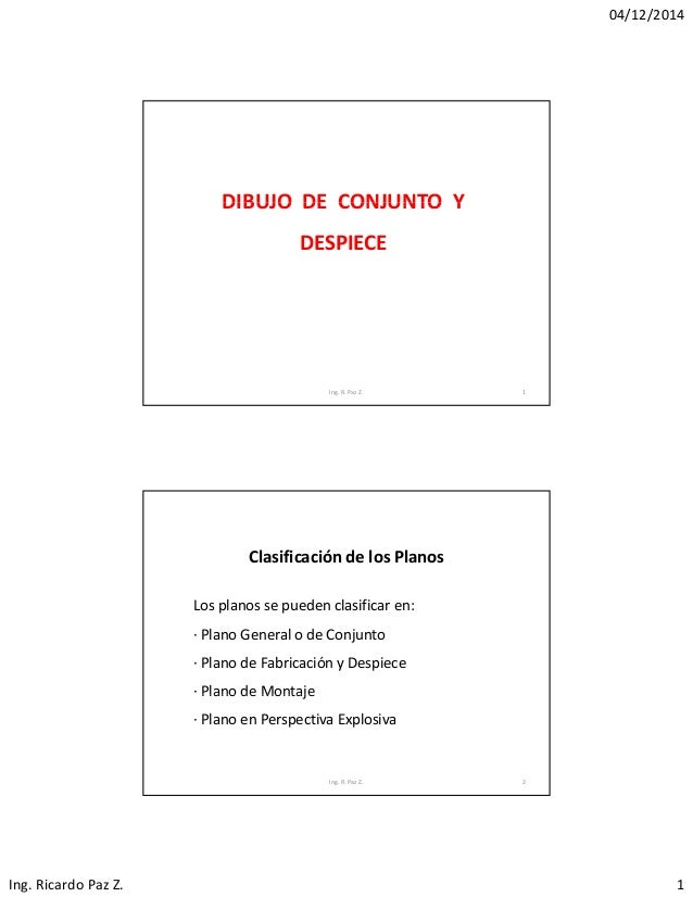 04/12/2014 Ing.RicardoPazZ. 1 DIBUJO DE CONJUNTO YDIBUJODECONJUNTOY DESPIECE 1Ing.R.PazZ. Clasificacióndel...