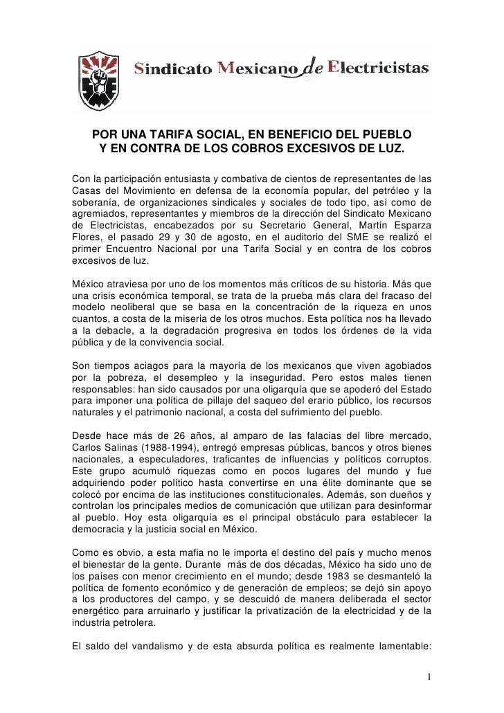 POR UNA TARIFA SOCIAL, EN BENEFICIO DEL PUEBLO      Y EN CONTRA DE LOS COBROS EXCESIVOS DE LUZ.  Con la participación entu...