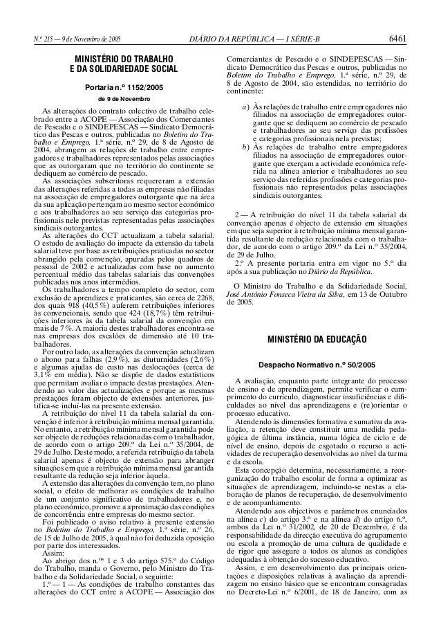 N.o 215 — 9 de Novembro de 2005 DIÁRIO DA REPÚBLICA — I SÉRIE-B 6461 MINISTÉRIO DO TRABALHO E DA SOLIDARIEDADE SOCIAL Port...