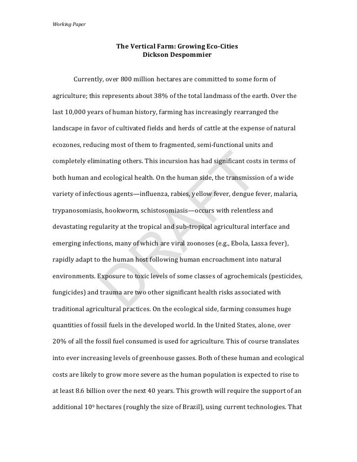 Working Paper                                                   The Vertical Farm: Growing Eco-Cities    ...