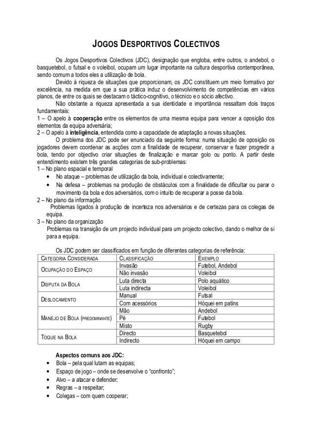 JOGOS DESPORTIVOS COLECTIVOS        Os Jogos Desportivos Colectivos (JDC), designação que engloba, entre outros, o andebol...