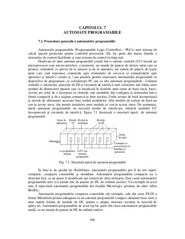 CAPITOLUL 7 AUTOMATE PROGRAMABILE 7.1. Prezentare generală a automatelor programabile Automatele programabile (Programmabl...