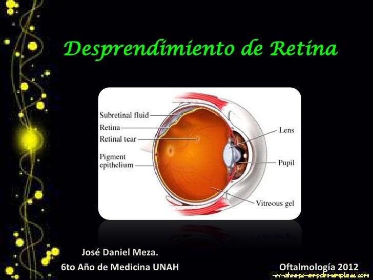 Desprendimiento de Retina     José Daniel Meza.6to Año de Medicina UNAH   Oftalmología 2012