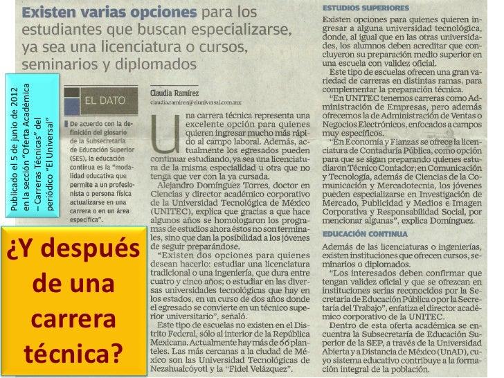 """Publicado el 5 de junio de 2012             en la sección """"Oferta Académica             – Carreras Técnicas"""" del          ..."""