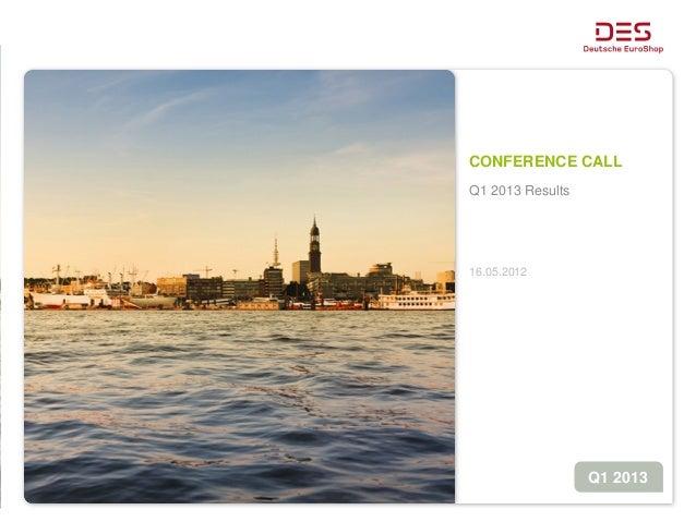 CONFERENCE CALLQ1 2013 Results16.05.2012Q1 2013