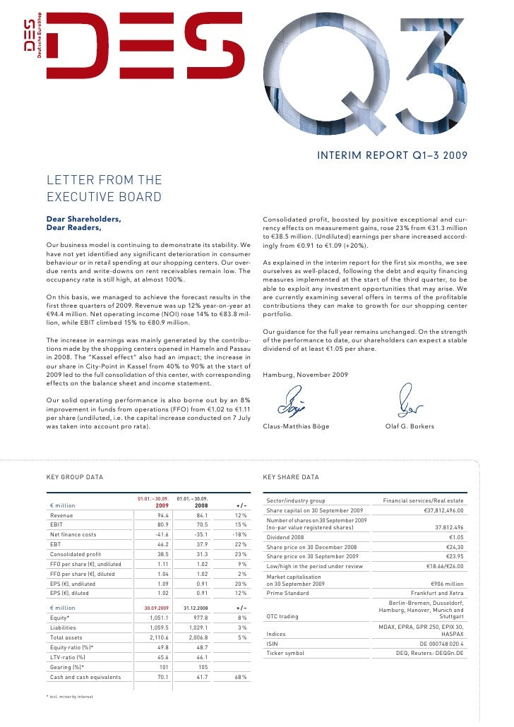 interim report Q1– 3 20 09  Letter from the executive Board Dear Shareholders,                                            ...