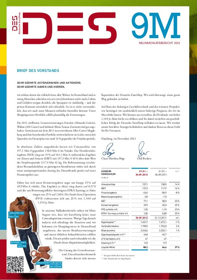 9M          NEUNMONATSBERICHT 2012       Brief des Vorstands                     Sehr geehrte Aktionärinnen und Aktionär...