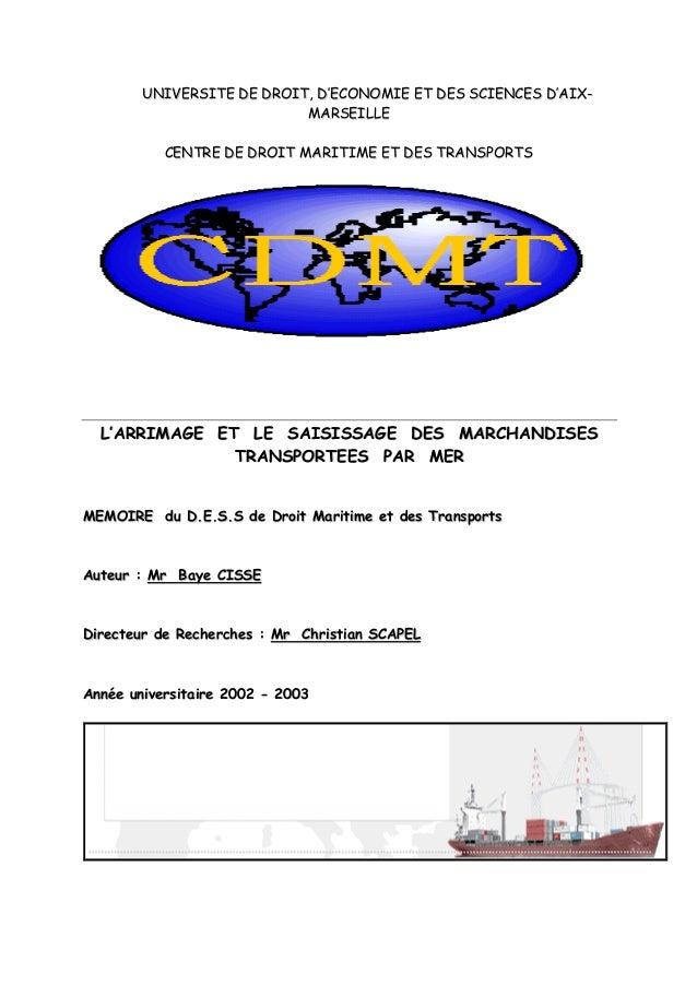 UUNNIIVVEERRSSIITTEE DDEE DDRROOIITT,, DD''EECCOONNOOMMIIEE EETT DDEESS SSCCIIEENNCCEESS DD''AAIIXX-- MMAARRSSEEIILLLLEE C...
