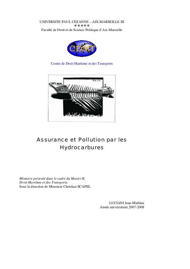 UNIVERSITE PAUL CEZANNE – AIX-MARSEILLE III Faculté de Droit et de Science Politique d'Aix-Marseille Centre de Droit Marit...