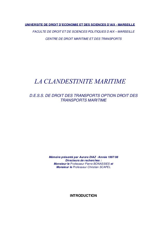 UNIVERSITE DE DROIT D'ECONOMIE ET DES SCIENCES D'AIX - MARSEILLE FACULTE DE DROIT ET DE SCIENCES POLITIQUES D'AIX – MARSEI...