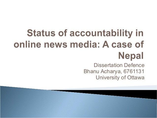 Dissertation Defence  Bhanu Acharya, 6761131  University of Ottawa