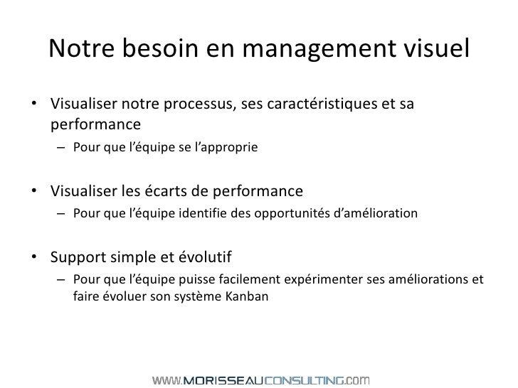 Notre besoin en management visuel<br />Visualiser notre processus, ses caractéristiques et sa performance<br />Pour que l'...