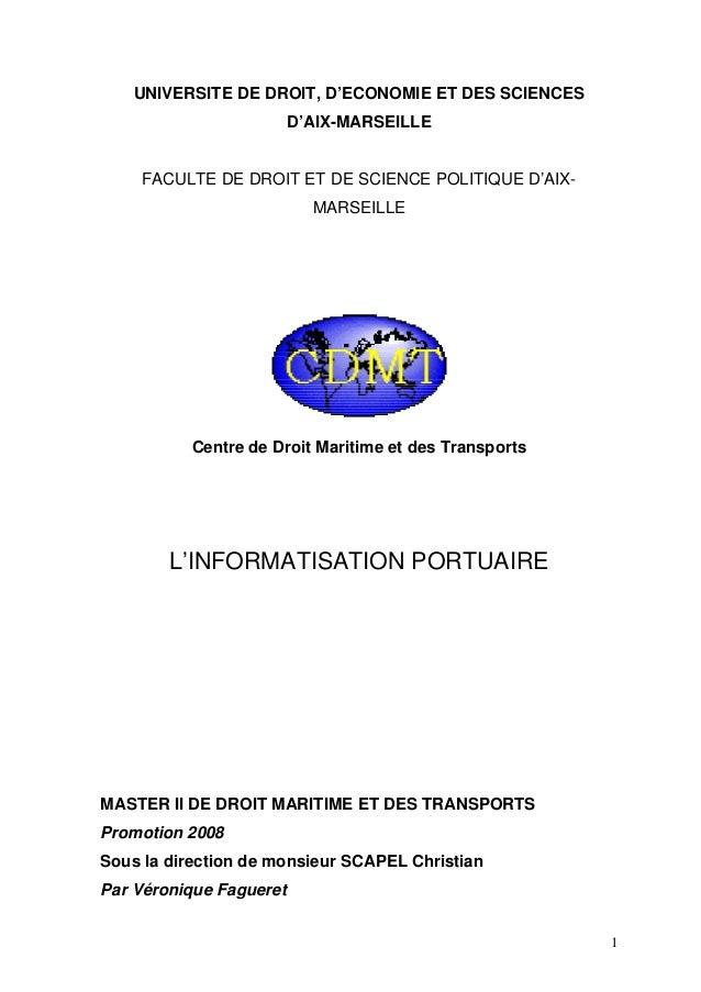 UNIVERSITE DE DROIT, D'ECONOMIE ET DES SCIENCES D'AIX-MARSEILLE FACULTE DE DROIT ET DE SCIENCE POLITIQUE D'AIX- MARSEILLE ...