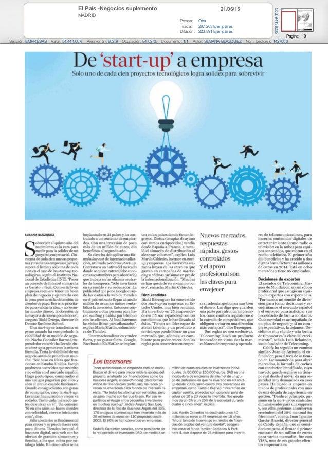 21/06/15El País -Negocios suplemento MADRID Prensa: Otra Tirada: 287.203 Ejemplares Difusión: 223.891 Ejemplares Página: 1...
