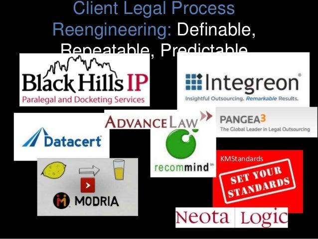 Client Legal Process Reengineering: Definable, Repeatable, Predictable KMStandards
