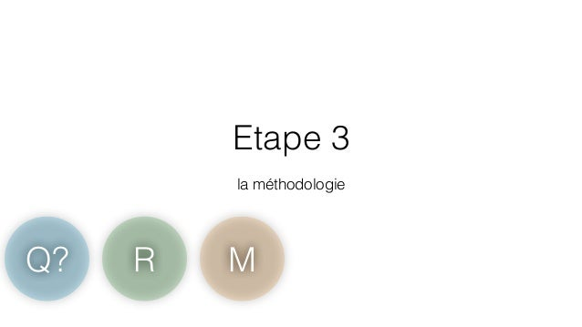 Etape 3  !  la méthodologie  Q? R M