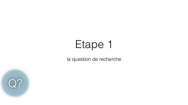 Etape 1  !  la question de recherche  Q?