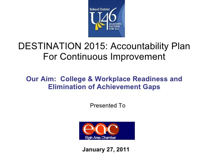 DESTINATION 2015: Accountability Plan For Continuous Improvement Our Aim:  College & Workplace Readiness and Elimination o...